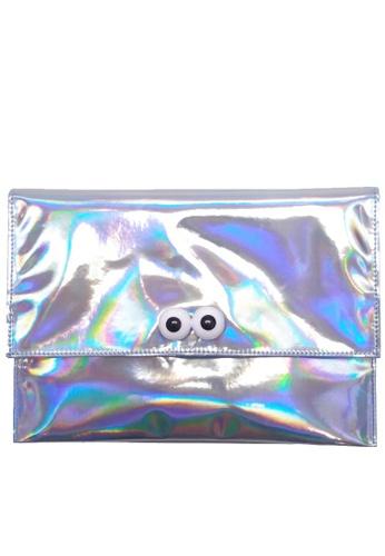 "My Flash Trash silver ""Look Look"" Hologram Clutch Bag AAC67AC1D36B46GS_1"