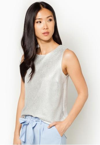 金屬zalora taiwan 時尚購物網感背開叉無袖上衣, 服飾, 服飾