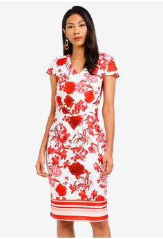 89d8fb27d2056 Dorothy Perkins multi Floral Scuba Pencil Dress 18B2FAA4B6F267GS 1