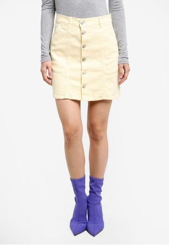 Mango yellow Buttoned Denim Skirt MA193AA0RXT4MY_1