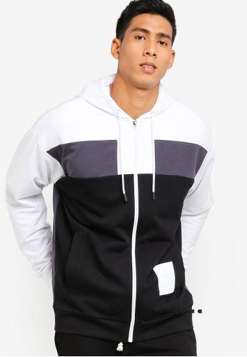 Calvin Klein 白色 撞色連帽外套 4042BAA72E15EDGS_1