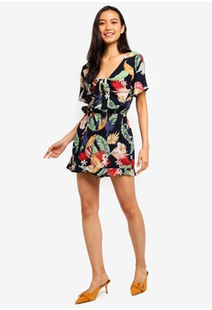 41585fac55c Dorothy Perkins Tropical Navy Tie Front Playsuit S  63.90. Sizes 6 10 12 14  16