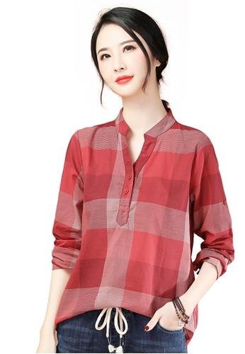 A-IN GIRLS red Fashion Stand Collar Checkered Blouse 567B9AA0E4942EGS_1