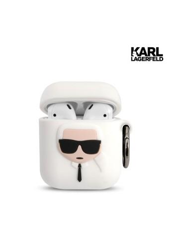 KARL LAGERFELD white Case Airpods 1/2 Karl Lagerfeld Ikonik Karl Silicone - White 8670EESC6148ABGS_1