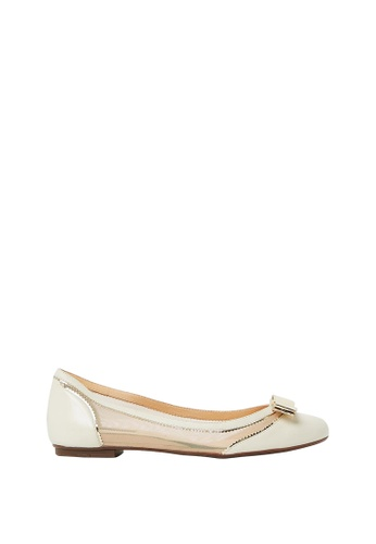 Nina Armando beige and gold Lena Leather Ballet Flats NI342SH0FV94SG_1