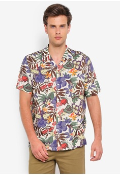 4596cdac8cefc3 Topman white and multi Stone Hawaiian Revere Shirt A3585AA35A4D2FGS 1