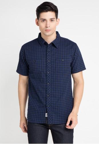 SHARKS blue Checked Short-Sleeve Shirt SH473AA0WP11ID_1