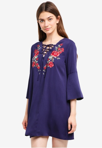 Something Borrowed navy Embroidered Laced Up Swing Dress 463D2AA8486324GS_1