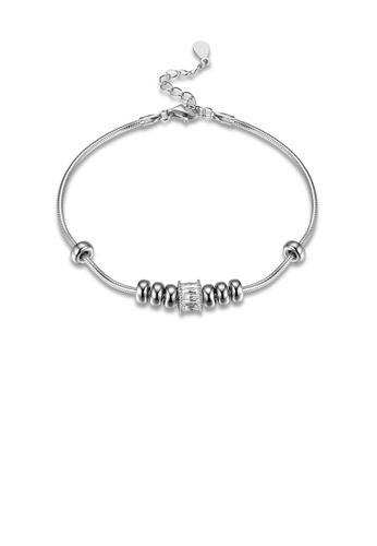Glamorousky white 925 Sterling Silver Fashion Simple Round Bead Cubic Zircon Serpent Bracelet 742E6ACA64D0C8GS_1