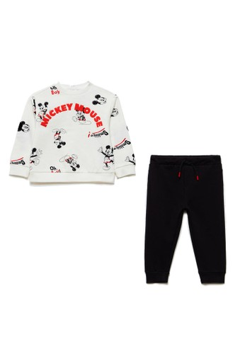 OVS white Jogging Set With Mickey Mouse Pattern FF53BKAC11E6B8GS_1