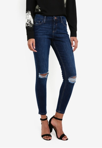 Dorothy Perkins blue Authentic Rip Darcy Skinny Jeans DO816AA0RSO8MY_1