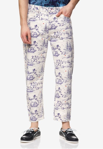 United Colors of Benetton white Printed Chinos C2164AA39BBBEDGS_1