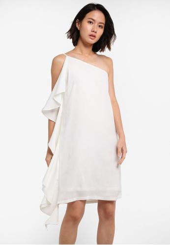 ZALORA white Side Frill Dress 0EA7DAAAB6B0F5GS_1