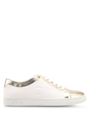 Keddo white Gold Toe Area Basic Lace-Up Sneakers 2B420SHA5AFB55GS_1
