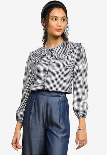 Lubna black Ruffle Collar Checkered Blouse 08743AA1BB3900GS_1