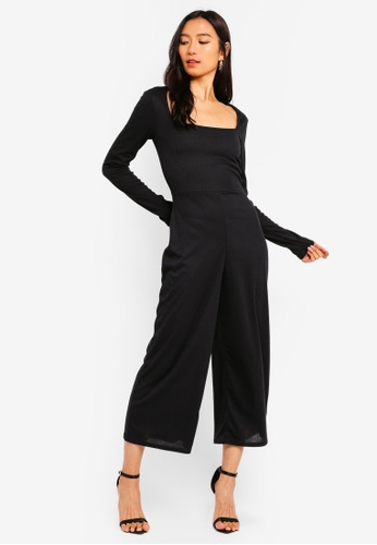 MISSGUIDED black Square Neck Rib Culotte Jumpsuit 7D378AA653A235GS_1
