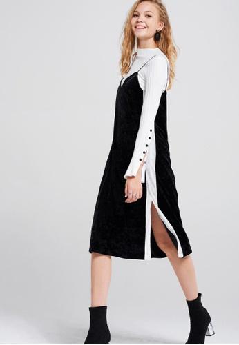 Storets black Olena Side Striped Velvet Dress 22265AA78E5239GS_1