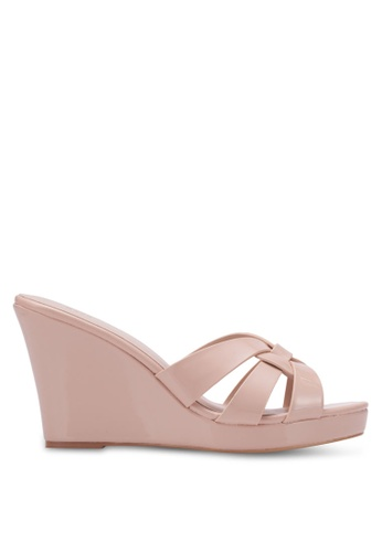Nose pink and beige Strappy Wedges NO327SH0RVLYMY_1