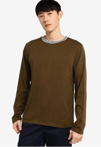 ZALORA BASICS green Tipped Crew Neck Long Sleeve T-shirt C50C6AA47B5AECGS_1