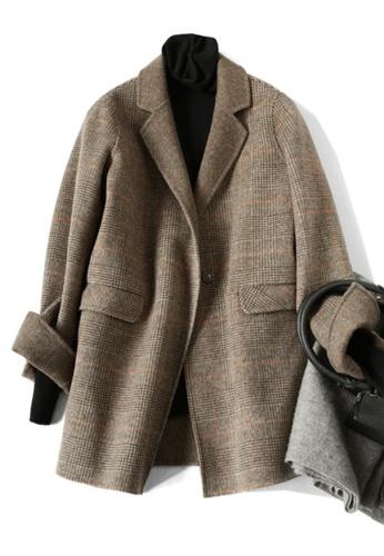 Twenty Eight Shoes brown VANSA Vintage Check Wool Double-faced Coat  VCW-C8023 41B3FAA6E112E2GS_1