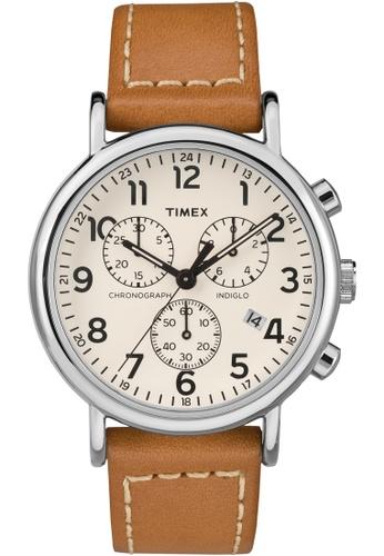 Timex brown and silver and beige Timex Weekender Chrono 40mm - Silver-Tone Case, Tan Strap (TW2R42700) TI857AC0FOYMSG_1