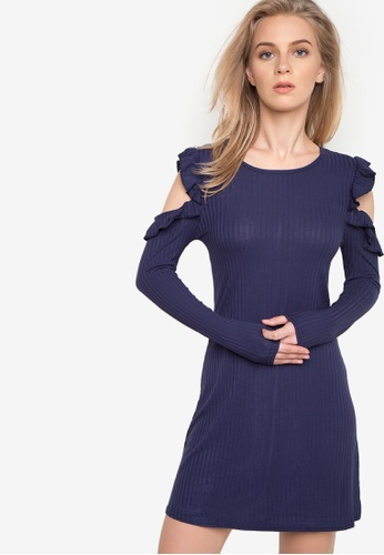 Spring Fling navy Ruffled Cold Shoulder Knit Dress SP673AA82SEZPH_1