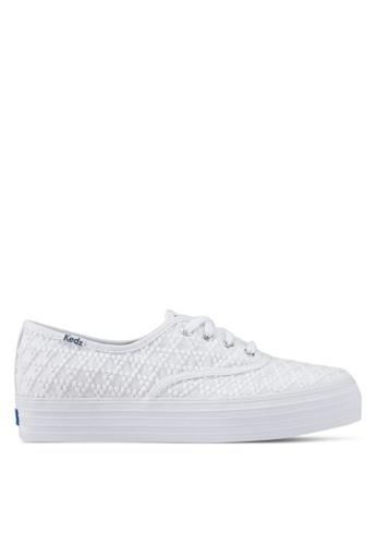 Keds white Triple Embroidered Triangle Sneakers KE942SH0STFRMY_1