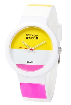 Newyork Army Whiteeni Art Silicon Watch