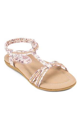 印花T 字esprit 品牌帶平底涼鞋, 女鞋, 涼鞋
