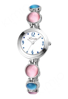 KIMIO Women's Colorful Stone Bracelet Stainless Watch K441 - (Pink/Blue)
