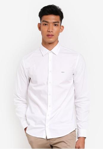BOSS 白色 休閒長袖襯衫 F6D8AAA36A5C93GS_1