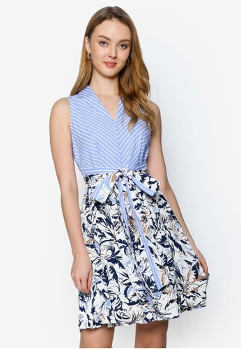 Saturday Club blue Color Block Dress With Printed Skirt 837A6AA1DC8DFDGS_1