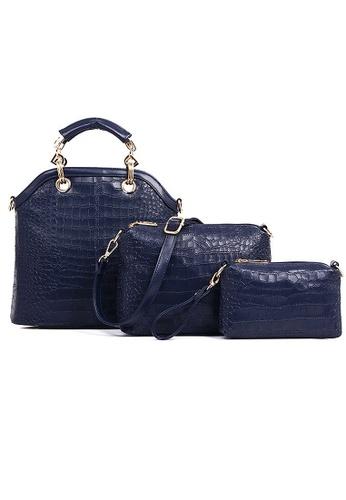 LULUGIFT blue Soft Faux Crocodile Leather Bags Set of 3 Dark Blue color LU989AC29IFQMY_1