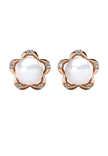 Her Jewellery gold Pearlie Floral Earrings (Rose Gold) - Made with Premium grade crystals from Austria C1779ACE28A11BGS_1