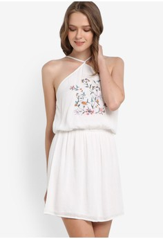 【ZALORA】 花卉刺繡無袖洋裝