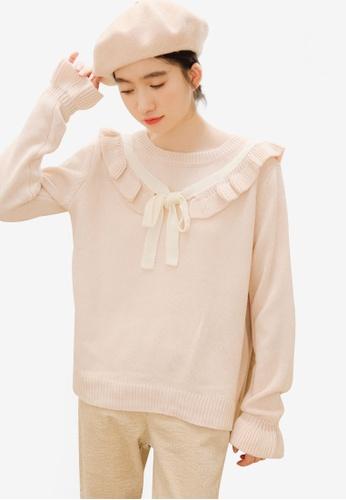 Shopsfashion pink Layered Collar Knit Blouse 77079AADBE51CCGS_1