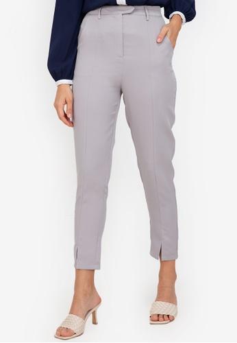 ZALORA WORK grey Front Slit Pants 2C024AA5C6DAFDGS_1