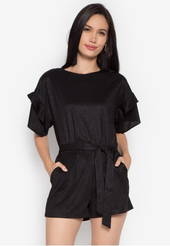 R.A.F. by Plains & Prints black Adlumia Short Sleeves Playsuit RA114AA0KQDHPH_1
