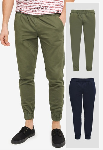 ZALORA green and navy 2 Pack Slim Fit Smart Woven Joggers ZA819AA0T27ZMY_1