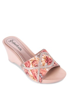 Floral Wedge Slides