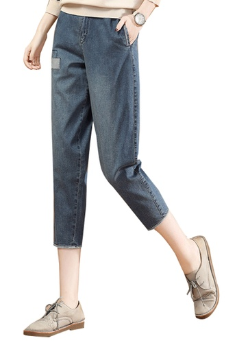 A-IN GIRLS blue Cropped Jeans With Elastic Waist D226FAA2E2BEA1GS_1