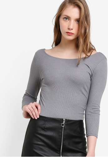 Miss Selfridge grey Grey Lattice Back Bodysuit MI665AA62OCBMY_1