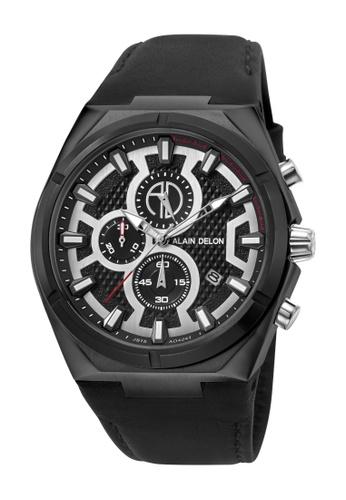 Alain Delon black Alain Delon Men AD424-1732C Black Leather Watch 493C8ACA545174GS_1