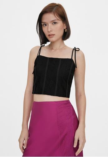 Pomelo black Lace Bow Tie Shoulder Crop Top - Black ADB10AAF161FBCGS_1