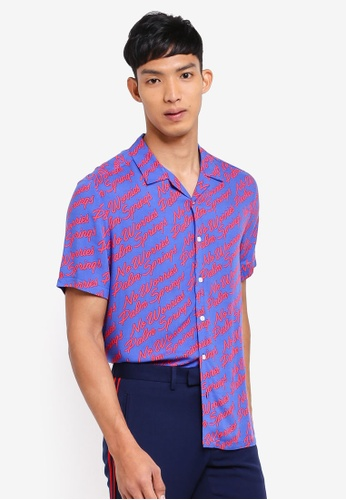 Topman blue Palm Springs Short Sleeve Shirt C0AA5AA2620215GS_1