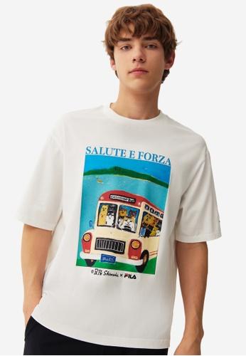 FILA white FILA x Pepe Shimada Unisex Cat Print Cotton T-shirt 11724AA71F8BC5GS_1
