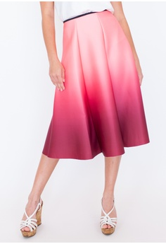 3180d827a77 Hook Clothing red and pink and multi Ombre Flare Midi Skirt  8685EAA78249FFGS 1