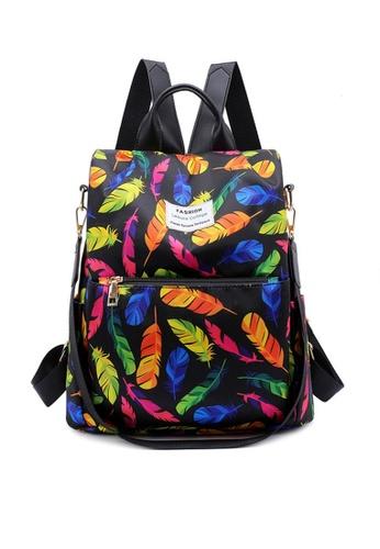 Twenty Eight Shoes black VANSA Floral Printed Nylon Oxford  Backpacks VBW-Bp1042 8B597AC89077F1GS_1
