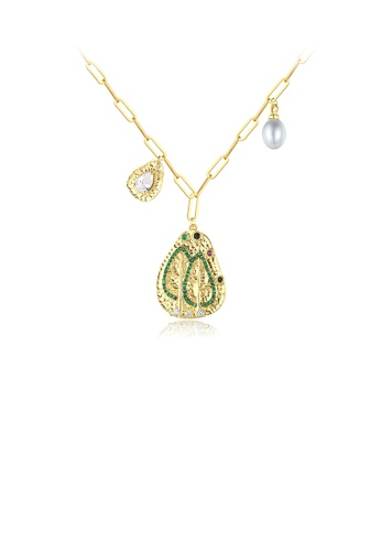 Glamorousky white Fashion and Elegant Plated Gold Tree Pattern Geometric Pendant with Cubic Zirconia and Necklace DD753ACC9A3CDAGS_1