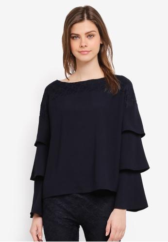 Zalia navy Lace Pieced Layered Sleeve Top 2E273AA8392BFBGS_1